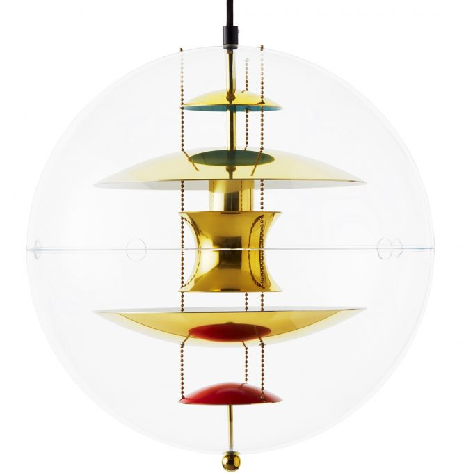 The VP Globe Brass pendant luminaire from Verner Panton. The pendant luminaire is built today by Verpan from Denmark.